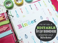 EDITABLE Recipe Binder Organizer Pdf Printable Planner Pages - INSTANT DOWNLOAD - Recipe Book, Whisk pattern Rich Tones