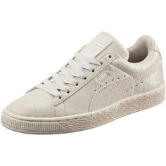 Puma Suede Remaster Women's Sneakers ($70) ❤ liked on Polyvore featuring shoes, sneakers, puma shoes, sports shoes, metallic sneakers, grip shoes and suede shoes