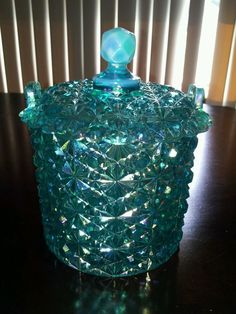Vtg Fenton Signed Daisy Button Teal Blue Jar Lid Carnival Glass Vanity Candy Ice