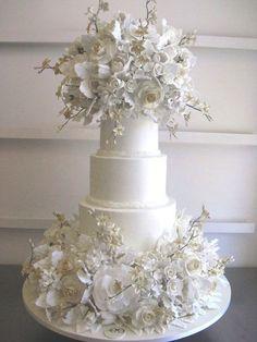 Dramatic White Wedding Cake \\ courtesy of  Sylvia Weinstock via Preston Bailey  #whitewedding