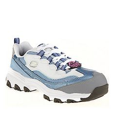 "Skechers Work ""Service"" Lace-Up Shoes in Blue/White."