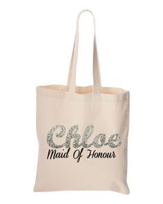 NEW Personalized Name Tote Bag, Custom Name Canvas Shopping Bag, Bridesmaid  Gifts Alternative Wedding Gift,. 80479fd7f2