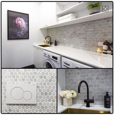 Oh girls those tiles! And we loved your artwork 'Enchanted Wall' (on pre-order at The Block Shop now). Laundry Nook, Small Laundry, Laundry In Bathroom, Bathroom Renos, Bathrooms, Laundry Shelves, Interior Design Living Room, Living Room Designs, Laundry Room Inspiration
