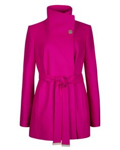 Short wrap coat - Deep Pink | Jackets & Coats | Ted Baker