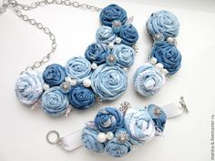 "Textile jewelry set |  Купить Комплект ""Зима"" в интернет магазине на Ярмарке Мастеров"