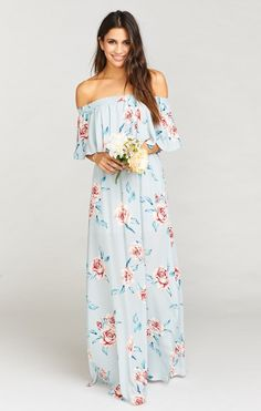 Hacienda Maxi Dress Flower Hour Sky
