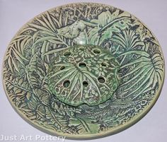 Weller Pottery Marvo Green Bowl and Flower Frog from Just Art Pottery