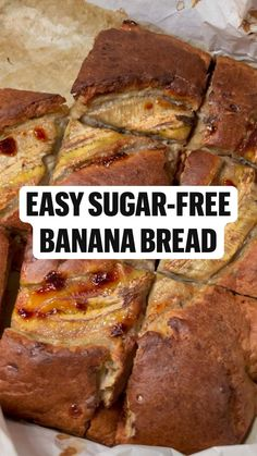 Low Sugar Banana Bread, Zucchini Banana Bread, Easy Banana Bread, Banana Recipes Easy, Healthy Bread Recipes, Cooking Recipes, Sugar Free Sweets, Sugar Free Recipes, Sugar Free Quick Breads