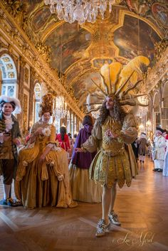 Chevalier dressed as the Sun King Mode Rococo, Roi Louis, Palace Of Versailles, Louis Xiv Versailles, 17th Century Fashion, Hall Of Mirrors, French History, Masquerade Ball, Historical Costume