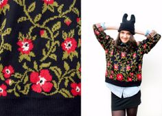 Free shipping  Wild roses knitted sweater  by KarmazsinGrunge, $33.90