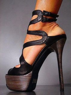 Sexy Double Strap Pumps ... If there was less platform   it would be a hit for me!!