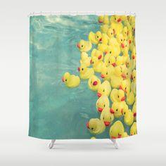 Funny shower curtain, rubber duck, aqua shower curtain, bathroom decor, shower curtains, escape, apartment decor, kids bathroom, children