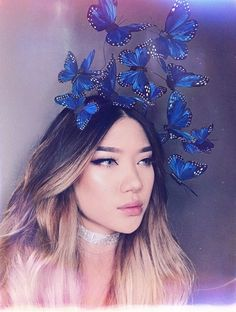 Wild Blue Yonder Monarch Butterfly Fascinator Headpiece