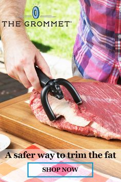 Qwick trim brisket trimmer helps you trim brisket and other meat and fish skin quick. Qwick Trim is a great barbecue trimming tool for pit masters and backyard bbq's alike. Quickly trim fat from brisket and other meat with Qwick Trim Brisket Trimmer. Cool Kitchen Gadgets, Kitchen Hacks, Cool Kitchens, Kitchen Tools, Kitchen Items, Kitchen Decor, Cooking Gadgets, Cooking Tools, Cooking Recipes