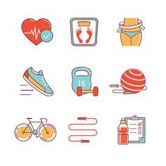 Fitness and healthy lifestyle thin line icons set - ilustração de arte em vetor
