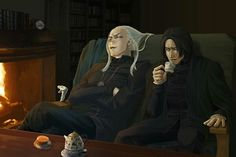 Lucius Malfoy and Severus Snape. Loving this picture; I do think they were pretty good acquaintances, just not really close enough to be proper friends. Draco Harry Potter, Harry Potter Anime, Hermione, Theme Harry Potter, Harry Potter Magic, Harry Potter Ships, Harry Potter Universal, Harry Potter Characters, Harry Potter World
