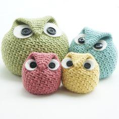 Crochet Chubby Owl Family by Tara Schreyer.