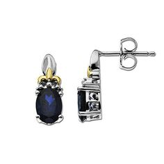 Oval Lab-Created Sapphire Drop Earrings in Sterling Silver and 14K Gold