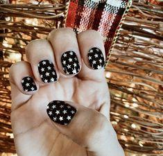 Nail Strips, Nail Wraps, Nail Stickers, Gel Nail Wrap, Manicure Nail Polish- Stars Nails, Stars, Black Nails, Silver Nails Star Nails, Us Nails, Silver Nails, Black Nails, Gel Nail, Nail Manicure, Stripped Nails, Nail Polish Stickers, Nail Art Diy