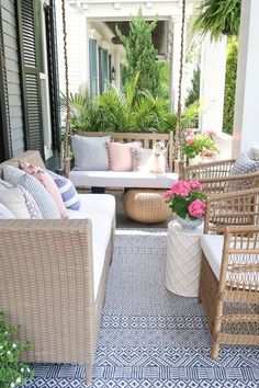Affordable porch and patio ideas this summer! Change the look of your outdoor furniture with spray paint and maximize seating in a small space. Resin Wicker Furniture, Painted Outdoor Furniture, Outdoor Furniture Design, Deck Furniture, Furniture Ideas, Small Space Furniture, Coaster Furniture, Pallet Furniture, Rustic Furniture