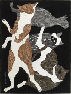 Art by Kiyoshi Saito (Japanese, 1907-1992), 1973, Cats (Neko), Woodcut in colors.