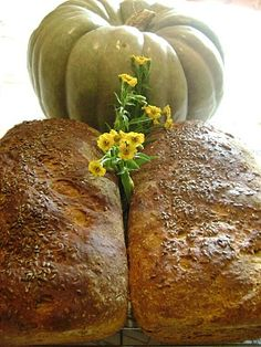Fresh Pumpkin Raisin Yeast Bread made with a Jarrahdale Pumpkin complete with sunflower seeds and flax =D