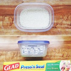 Don't like having open dry goods in your kitchen? Try this instead! Pour into a glad container, cut directions from the packaging and adhere to GladWare using Press'n Seal.