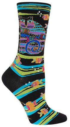 Laurel Burch K.Bell Turq Blue Red Polka Dot Cats Womens Ladies Crew Socks New