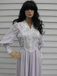 Vintage 70s Corset Prairie Dress Lavender Purple Boho by soulrust, $59.99