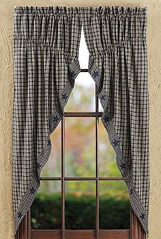 New Primitive Country NAVY BLUE U0026 TAN CHECK STAR Prairie Curtain Window  Swag #Cambridge #