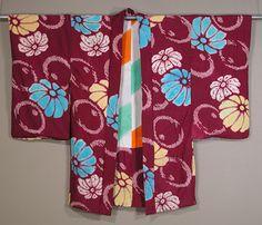 Japanese Shibori Haori  1930s.  Informal jacket with silk tie dye   floral design.