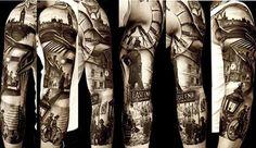 East End London tattoo! Tribal Arm Tattoos, Hand Tattoos, Tatoos, Triangle Tattoos, Ankle Tattoos, Nikko Hurtado, 3 4 Sleeve Tattoo, Tattoo Ink, Brow Tattoo