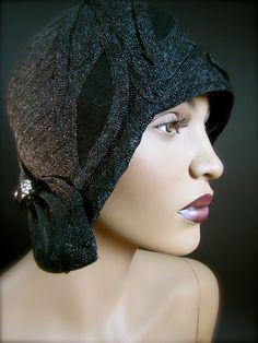 1920's Black Straw Helmet Cloche with Bakelite and Rhinestone Embellishment