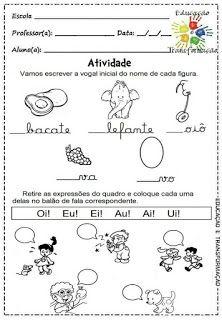 Atividades para Jardim: Vogais e encontros vocálicos Classroom, Professor, Nova, 1, Language Activities, Infant Activities, Cursive Letters, Writing Activities, Note Cards