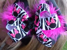 Pink and Black Minnie Mouse Hair Bow