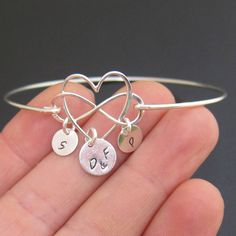 Infinity Heart Bracelet Sterling Silver Mom Bracelet with Kids Initials Mother Bracelet Heart Infinity Wife Birthday Gift Mother Day Jewelry Bangle Bracelets With Charms, Heart Bracelet, Sterling Silver Bracelets, Bangles, Personalized Bracelets, Handmade Bracelets, Handmade Jewelry, Mothers Bracelet, Best Mothers Day Gifts