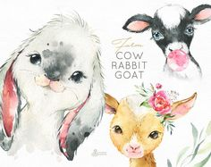 Watercolor Clipart - Buy Now Farm Cow Rabbit Goat. Watercolor little. Watercolor Images, Watercolor Animals, Watercolor Design, Watercolour, Images Of Cows, Baby Cows, Baby Pig, Piglet, Baby Portraits
