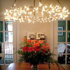 Eye-Catching Christmas Fairy Lights Decor Ideas for Magical Moments in Your Home - All About Decoration Hanging Patio Lights, Balcony Lighting, Home Lighting, Chandelier Lighting, Lighting Ideas, Hula Hoop Chandelier, Chandeliers, Chandelier Ideas, Outdoor Chandelier