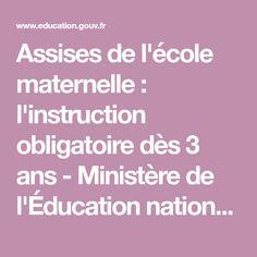 Assises de l'école maternelle : l'instruction obligatoire dès 3 ans - Ministère de l'Éducation nationale