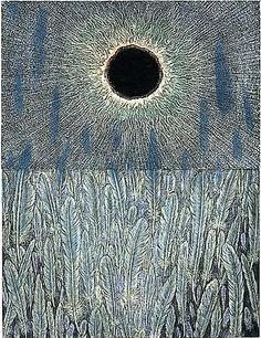 "Hideharu Mishio - Wood Engraving, ""Eclipse V"" Art Japonais, Wood Engraving, Gravure, Woodblock Print, Asian Art, Japanese Art, Art Images, Illustration Art, Art Prints"