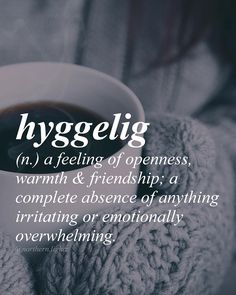 Danish (Or hygge //hoo-gah// hyggelig - a feeling of openness, warmth and friendship; a complete absence of anything irritating or emotionally overwhelming