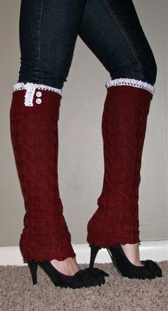 Lace and Button Leg Warmers / Boot Socks In Cranberry. Perfect with boots, heels or flats. Boot Cuffs, Boot Socks, Crochet Leg Warmers, Over Boots, Winter Headbands, Sexy Socks, Thigh High Socks, Autumn Winter Fashion, Winter Style