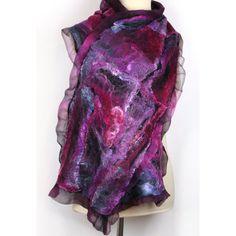 Nuno Felt Silk Wool Scarf - Hand Dyed - Purple, Pink, Fuchsia, Black, Grey, Teal, Turquoise