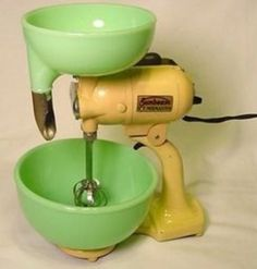Antique Sunbeam toy mixer with original Jadeite pieces