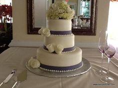 purple wedding cake 3 tier | Wedding Cakes- 3 tier, fondant, purple ribbons, white roses