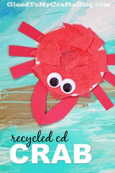 Recycled CD Crab recycledcd Recycled CD Crab - Kid Craft - Glued To My Crafts .Recycled CD Crab recycledcd Recycled CD Crab - Kid Craft - Glued To My Crafts . Luau Crafts, Cute Kids Crafts, Cd Crafts, Ocean Crafts, Summer Crafts For Kids, Camping Crafts, Beach Crafts, Toddler Crafts, Recycled Crafts