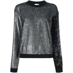 Sonia Rykiel Glitter Sweatshirt (41.540 RUB) ❤ liked on Polyvore featuring tops, hoodies, sweatshirts, black, glitter top, cotton sweatshirts, glitter sweatshirt, sonia rykiel and sonia rykiel top