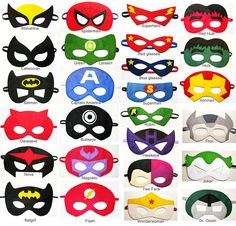 25 felt Superhero Masks party pack - YOU CHOOSE STYLES - Dress Up play costume accessory - Birthday gift for Boys Girls Adults - Wholesale