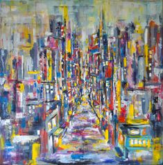 'Yours to relinquish' - A city overcome by emptiness, devoid of life and emotion, hoping for the colours to break through. Oil on canvas.