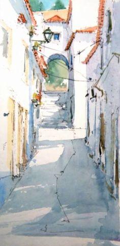 www.joaocabral.net - GALERIA Watercolor Architecture, Watercolor Landscape, Watercolor And Ink, Ink Painting, Watercolor Paintings, Marjolein Bastin, Watercolors, Gallery, Drawings
